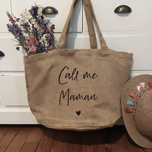 Cabas toile de jute Call Me Maman