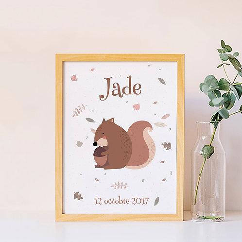 affiche écureuil personnalisée, déco chambre enfant