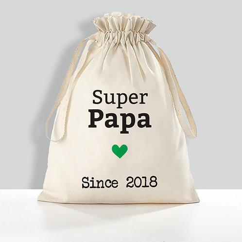 "Pochon 100% coton BIO ""Super Papa"""