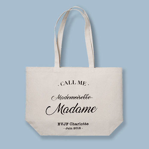 "THE BIG BAG, tote bag XL - "" Call me Mademoiselle - Madame """