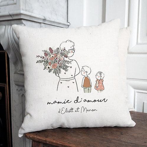Coussin personnalisé fête des grands-mères mamie