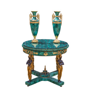 Malachite Table and pair of V...
