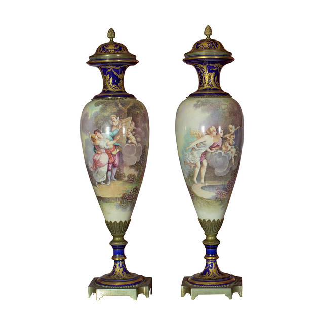 Pair of Porcelain Sevres Vases