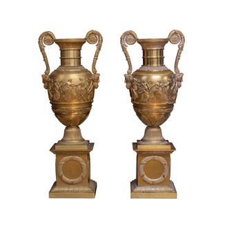 Twin Gilt-Bronze Vases