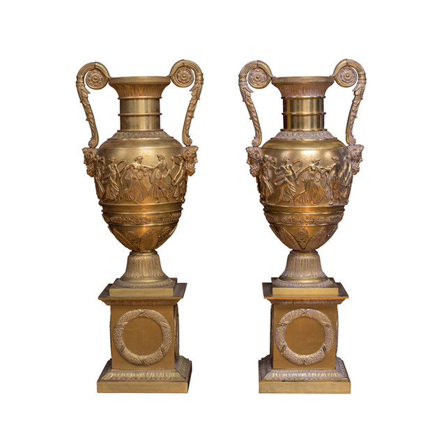 Twin Gilt-Bronze Vases