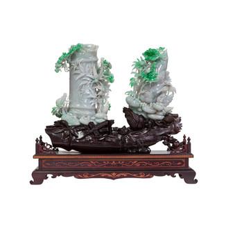 Pair of Jadeite Bamboo Shoots