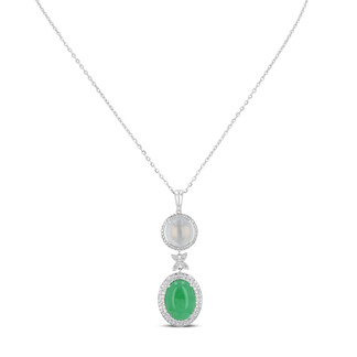 Imperial Green & White Jadeite Pendant