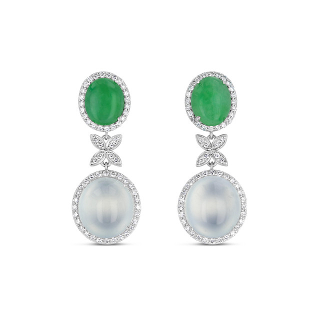 Imperial Green & White Jadeite Earrings