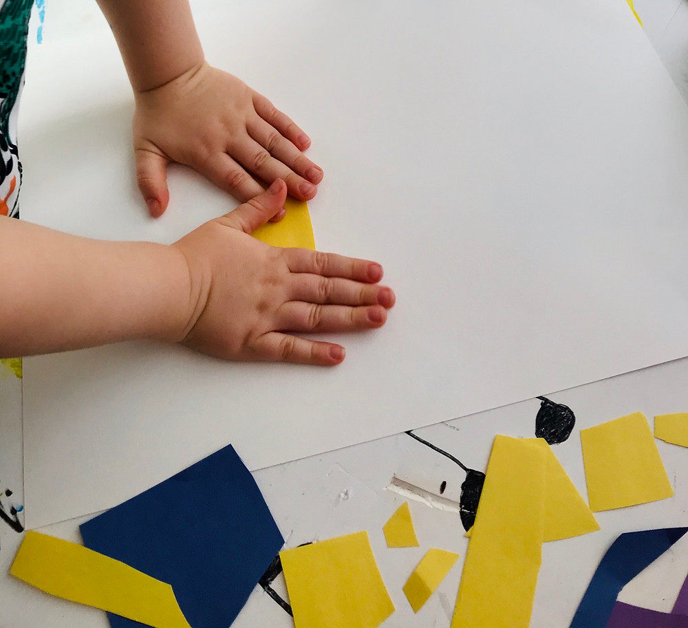Glue colored pieces of paper