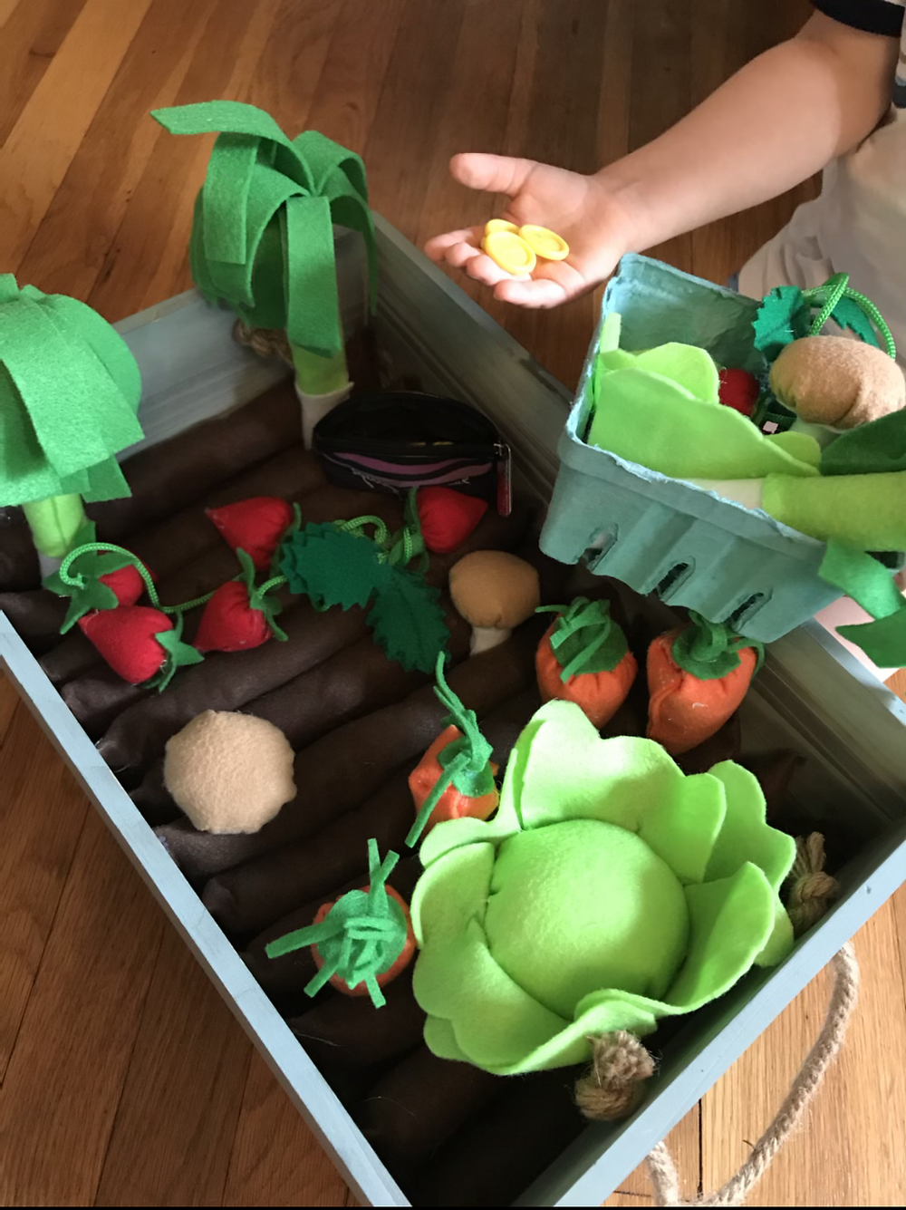 Play time in the garden (real or made out of felt)