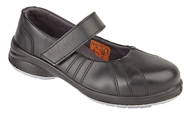 EX2212 Himalayan Ladies S1P Black Star Velcro Shoe with Midsole