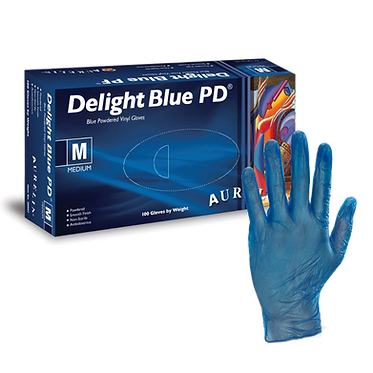 Aurelia Delight Blue Lightly Powdered Vinyl Gloves EX3889 (Box of 100)