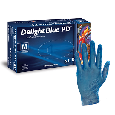 Aurelia Delight Blue Lightly Powdered Vinyl Gloves EX3889 (Box of 100)