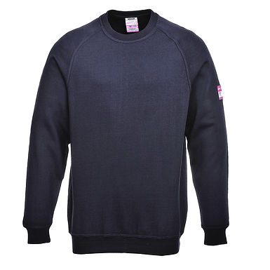 Flame Resistant Anti-Static Long Sleeve Sweatshirt Navy EXFR12NAR