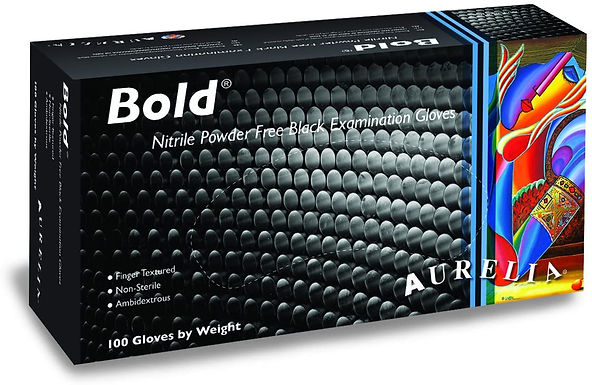 Aurelia Bold Black Nitrile Examination Gloves EX7399 (Box of 100)