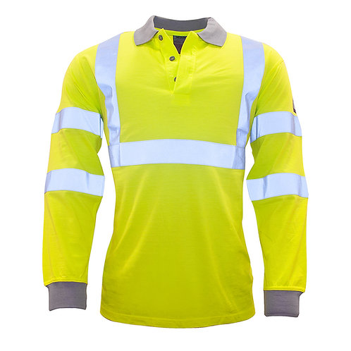 Flame Resistant Anti-Static Hi-Vis Long Sleeve Polo EXFR77YER