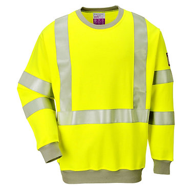 Flame Resistant Anti-Static Hi-Vis Sweatshirt Yellow EXFR72YER