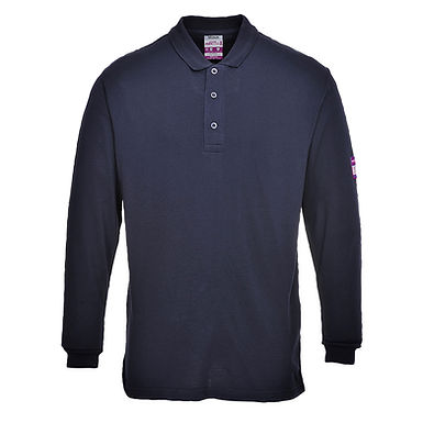 Flame Resistant Anti-Static Long Sleeve Polo Shirt Navy EXFR10NAR