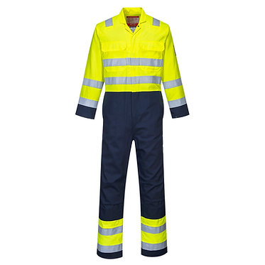 Hi-Vis Anti-Static Bizflame Pro Coverall Yellow/Navy EXBIZ7YNR