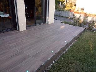 carrelage terrasse 40x120 cm spots intégrés