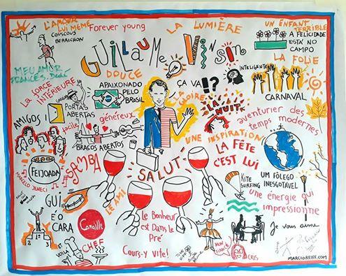 painel desenhado na casa do aniversariante, interagindo com os convidados dele