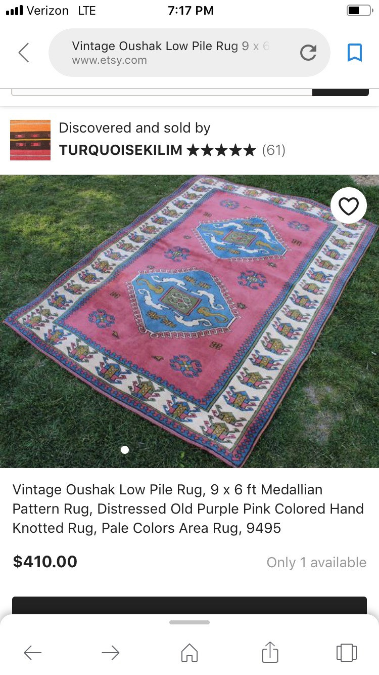 Inspiration for Entryway.  Pink and Blue Turkish Rug.