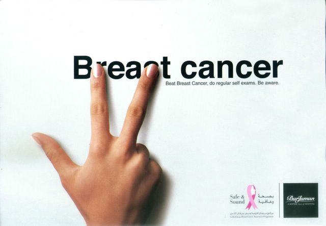 Creative breast cancer advertisement with great copywriting.
