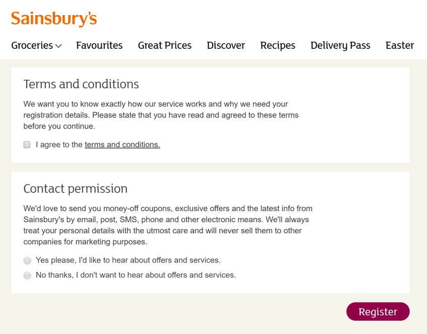 Sainsbury's registration form complies with the EU GDPR by getting consent from customers and separating consent from terms and conditions.