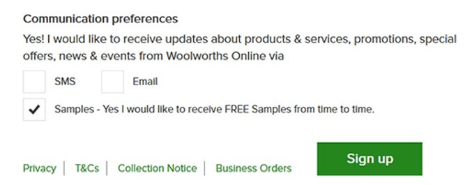 Woolworths granular consent to comply with GDPR regulations.