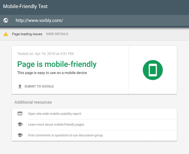 Google Mobile-Friendly Test results. Design mobile friendly webpages to increase webpage search ranking.