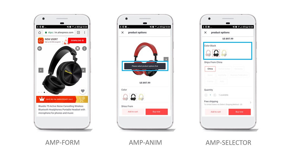 AliExpress launched AMP webpages for its mobile e-commerce website.