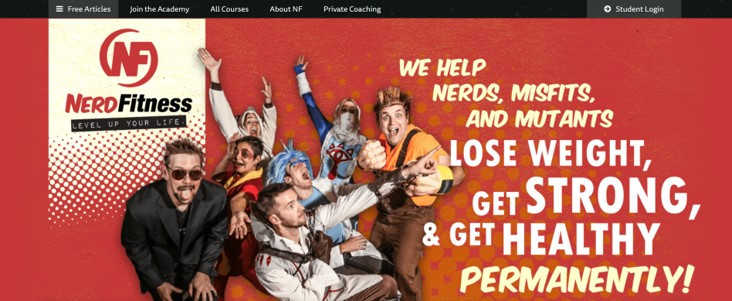 Nerd Fitness focuses on a niche market, helping geeks lose weight and get back into shape.