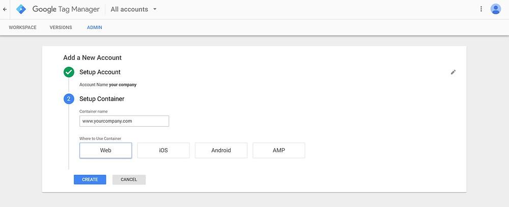 Setting up Google Tag Manager. Enter website address.