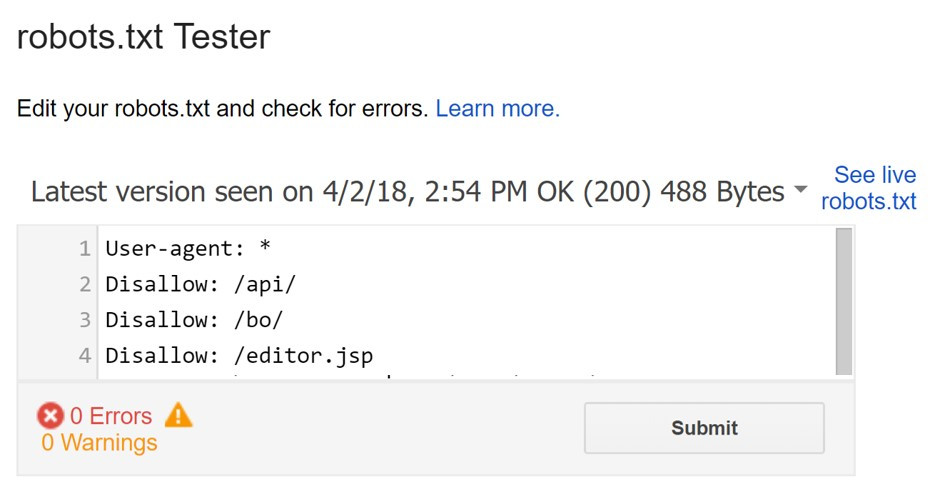 Google Search Console robots.txt file tester