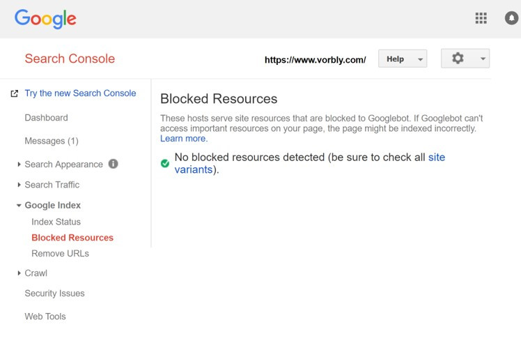 Google Search Console Blocked Resources check