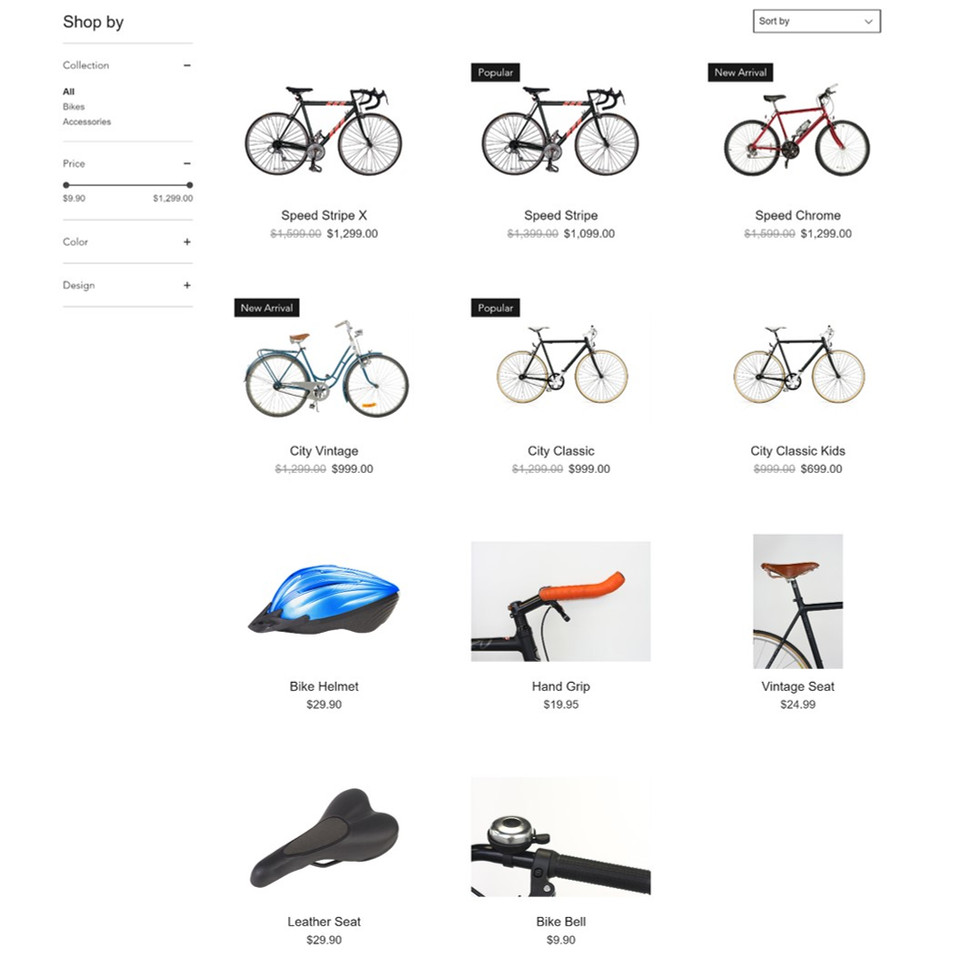 Design e-commerce website for retailers with product filters, options and shopping cart.
