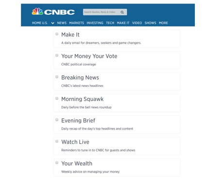 CNBC subscribers can select their interests (e.g. breaking news) when signing up for the newsletter. And the company only sends relevant articles to subscribers.