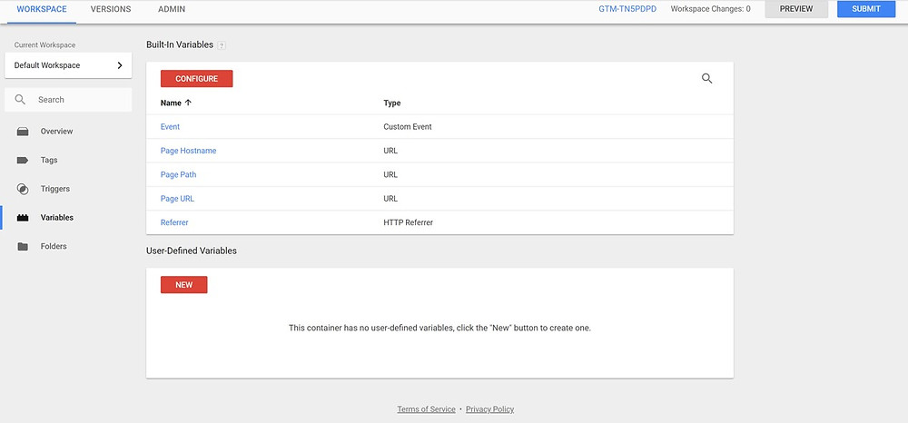 Adding Built-In Variables In Google Tag Manager