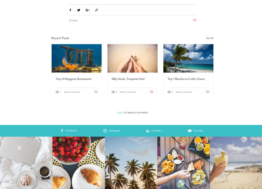 Travel blog with social media sharing icons and related articles to drive engagement. Social media marketing, social media feed, instagram feed used to engage and grow followers.