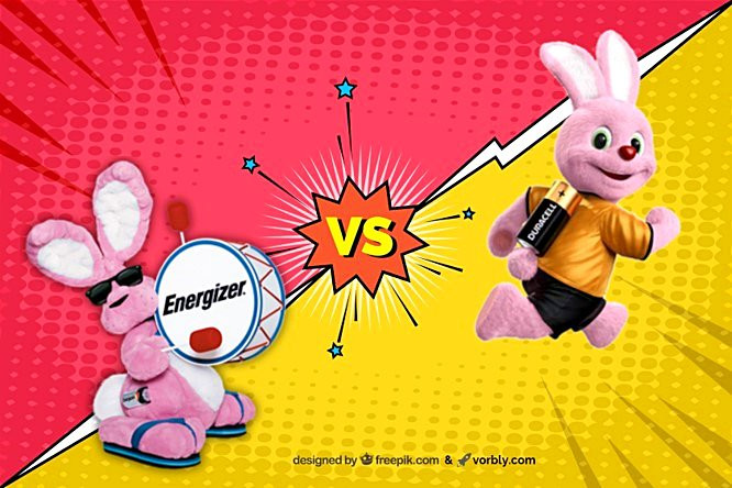Energizer and Duracell branding, pink bunny. Image credit from wikipedia and freepik.com.