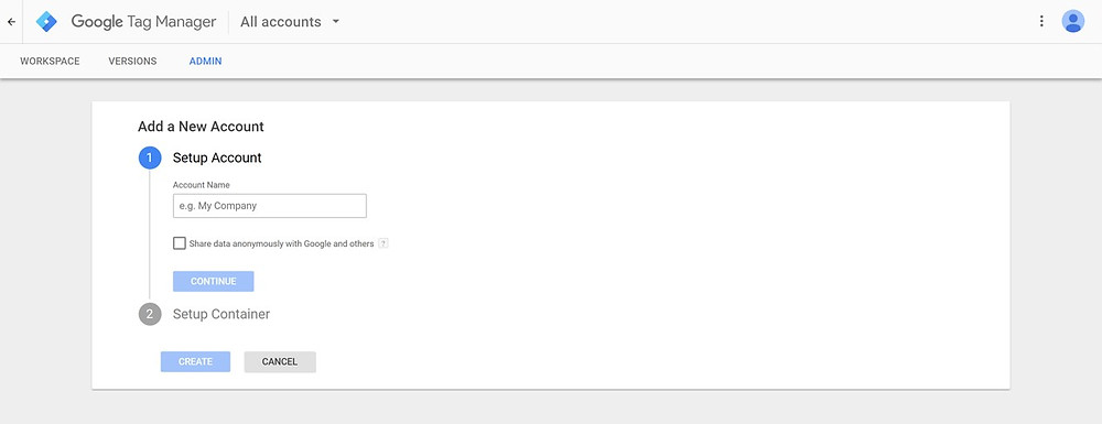 Setting up Google Tag Manager. Enter account name.