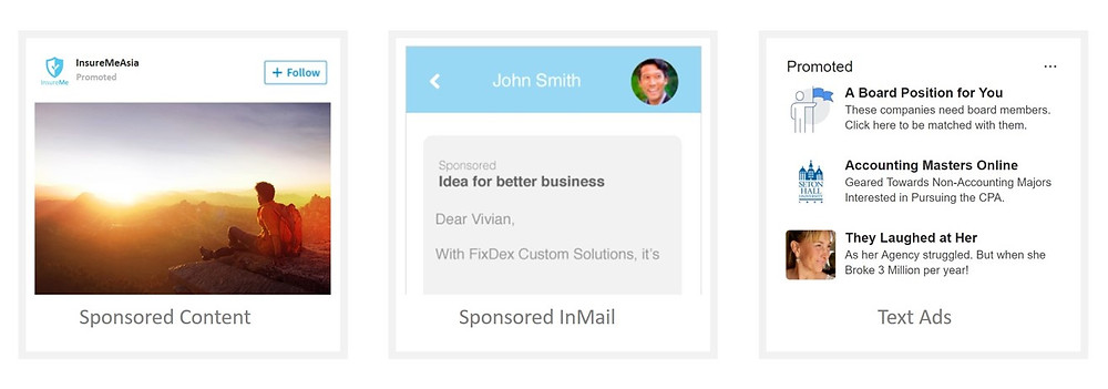 LinkedIn advertisement types include sponsored content, sponsored inmail and text ads.