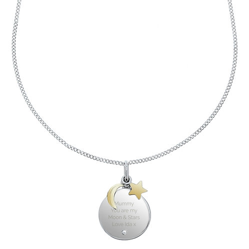 Personalised Moon and Stars Necklace