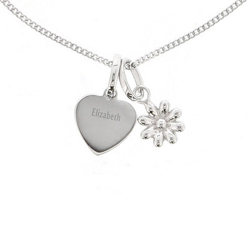 Personalised Heart and Daisy Necklace
