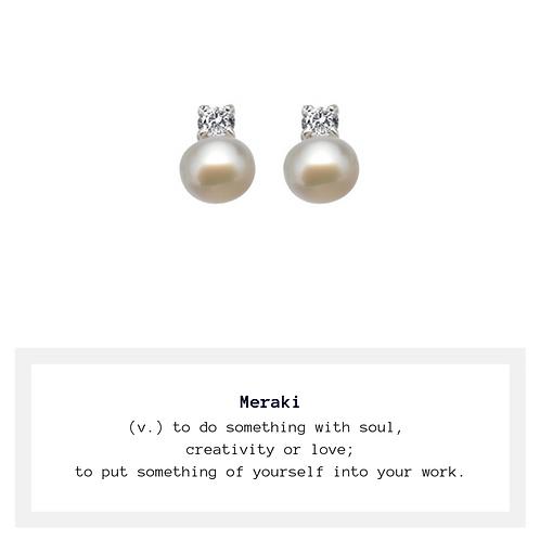 Meraki Freshwater Pearl Stud Earrings