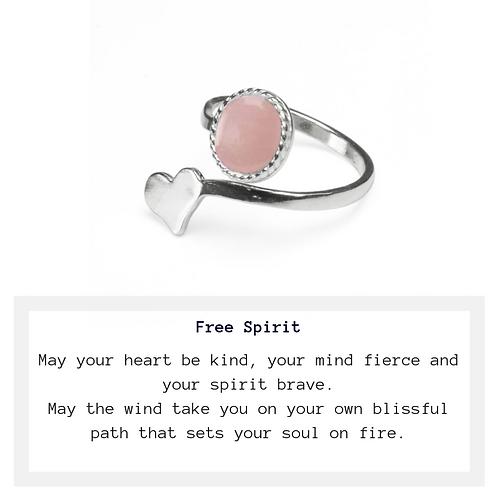 Free Spirit Rose Quartz Heart Ring