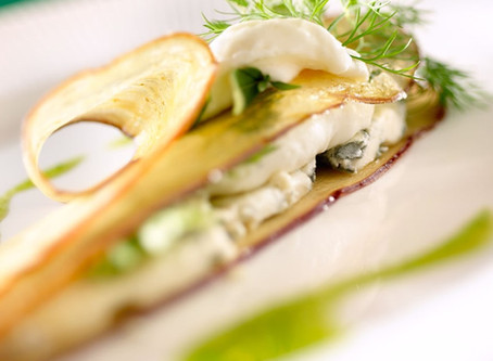 Recette #28 : Aubergine, mousseline de céleri,Persillé du Beaujolais et noix