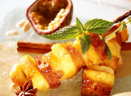 Recette 12# : Brochettes de fruits et de pain d'épices, coulis de banane passion aux épices