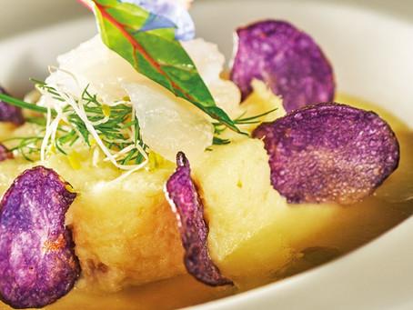 Recette #6 : Soupe de Poireaux et Pommes de Terre, Brandade de Morue, Chips de Pommes Vitelottes
