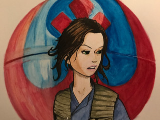 Jyn Erso 12x18 watercolor and ink